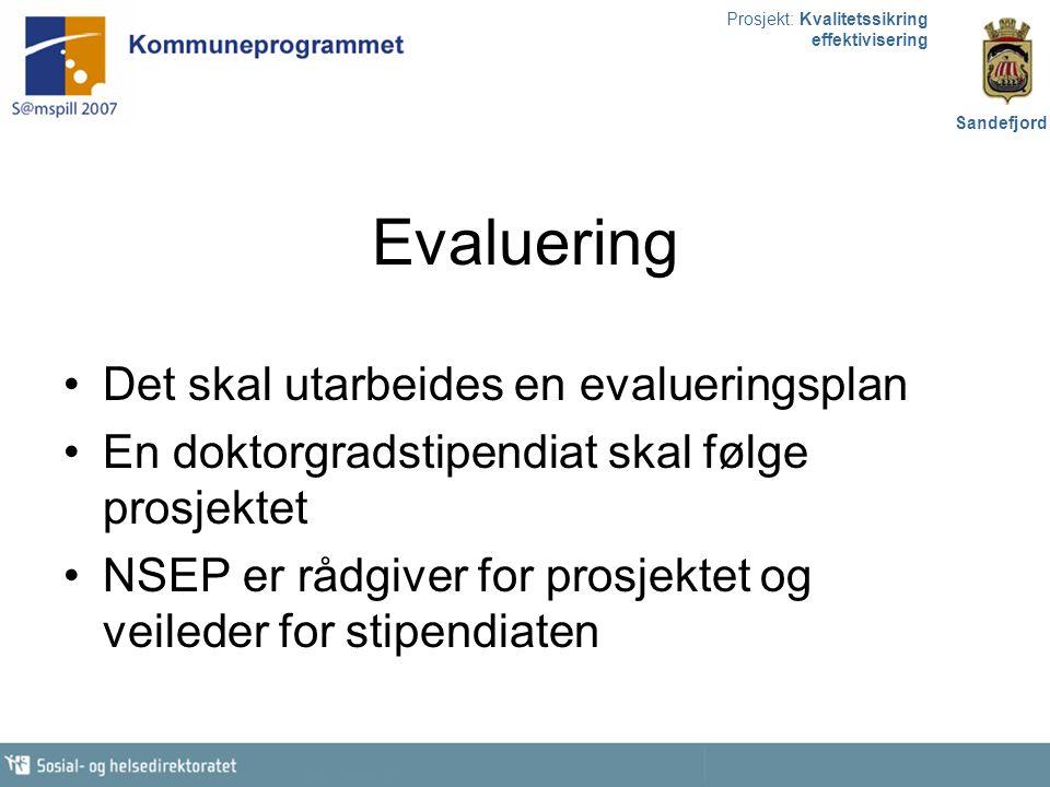 Prosjekt: Kvalitetssikring effektivisering Sandefjord Evaluering Det skal utarbeides en evalueringsplan En doktorgradstipendiat skal følge prosjektet