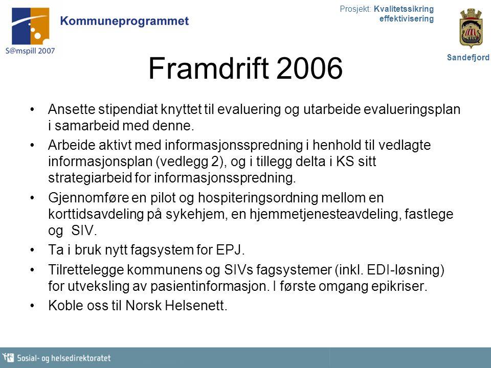 Prosjekt: Kvalitetssikring effektivisering Sandefjord Framdrift 2006 Ansette stipendiat knyttet til evaluering og utarbeide evalueringsplan i samarbei