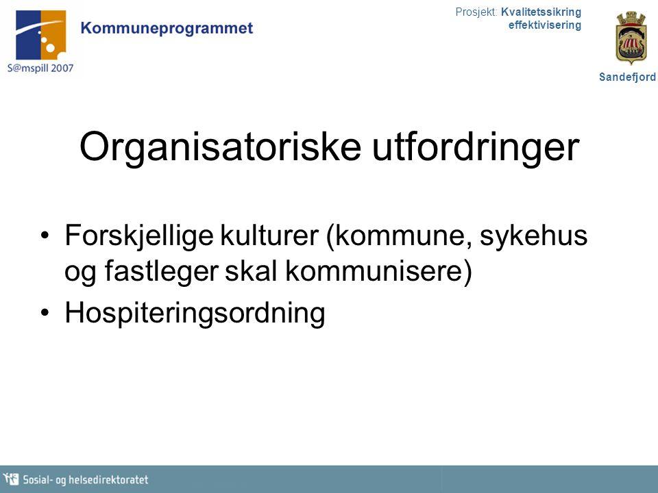 Prosjekt: Kvalitetssikring effektivisering Sandefjord Organisatoriske utfordringer Forskjellige kulturer (kommune, sykehus og fastleger skal kommunise