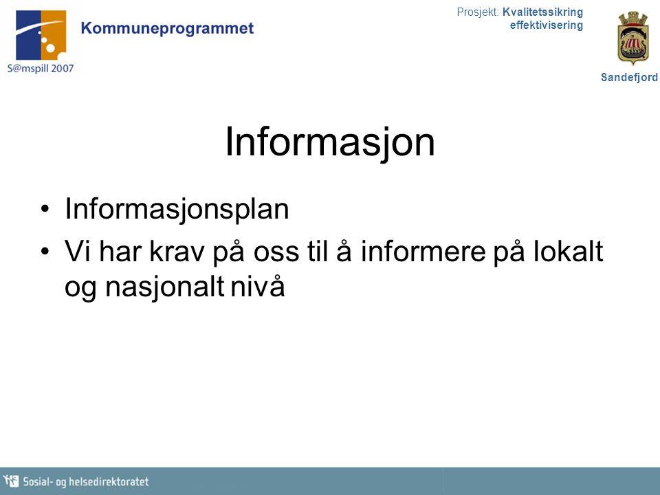 Prosjekt: Kvalitetssikring effektivisering Sandefjord Informasjon Informasjonsplan Vi har krav på oss til å informere på lokalt og nasjonalt nivå