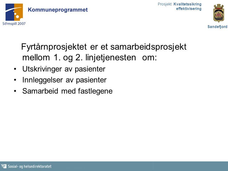 Prosjekt: Kvalitetssikring effektivisering Sandefjord Fyrtårnprosjektet er et samarbeidsprosjekt mellom 1. og 2. linjetjenesten om: Utskrivinger av pa