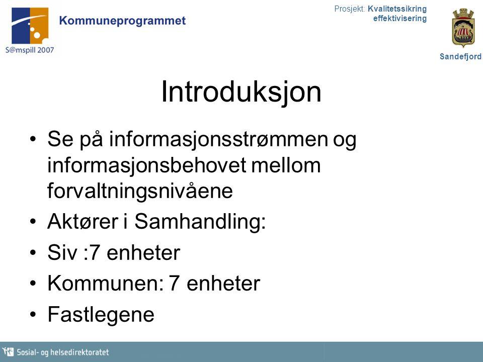 Prosjekt: Kvalitetssikring effektivisering Sandefjord Introduksjon Se på informasjonsstrømmen og informasjonsbehovet mellom forvaltningsnivåene Aktøre