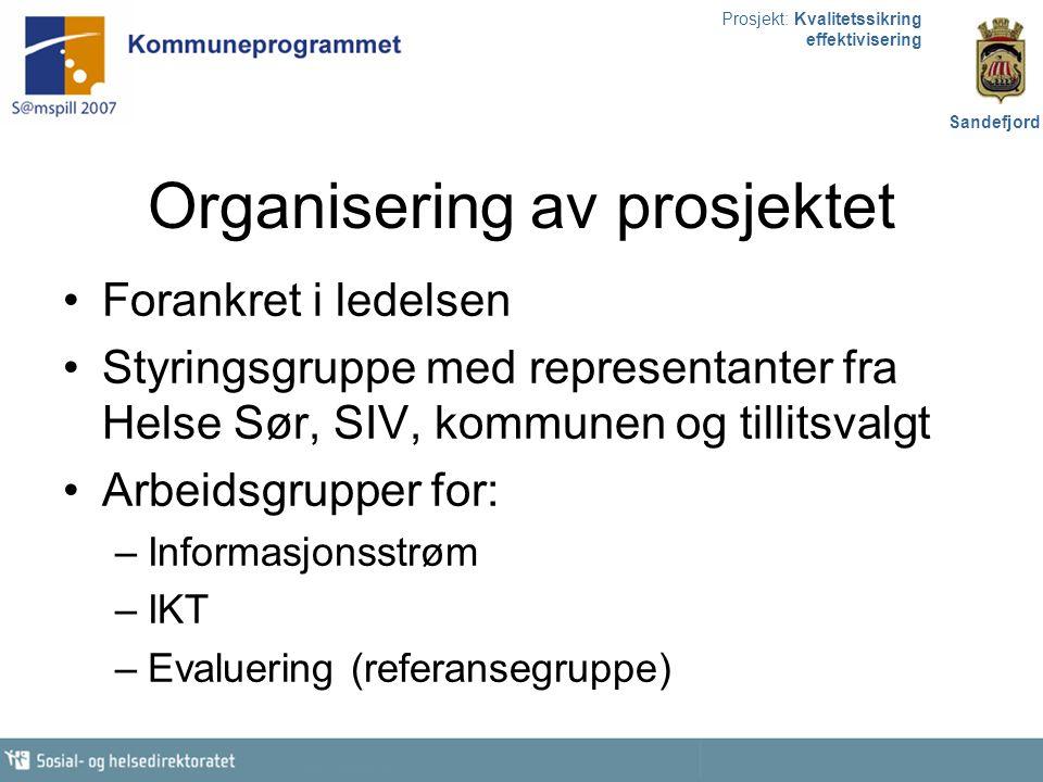 Prosjekt: Kvalitetssikring effektivisering Sandefjord Organisering av prosjektet Forankret i ledelsen Styringsgruppe med representanter fra Helse Sør,