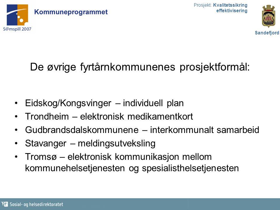 Prosjekt: Kvalitetssikring effektivisering Sandefjord De øvrige fyrtårnkommunenes prosjektformål: Eidskog/Kongsvinger – individuell plan Trondheim – e
