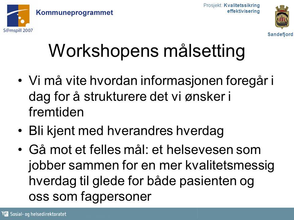 Prosjekt: Kvalitetssikring effektivisering Sandefjord Workshopens målsetting Vi må vite hvordan informasjonen foregår i dag for å strukturere det vi ø