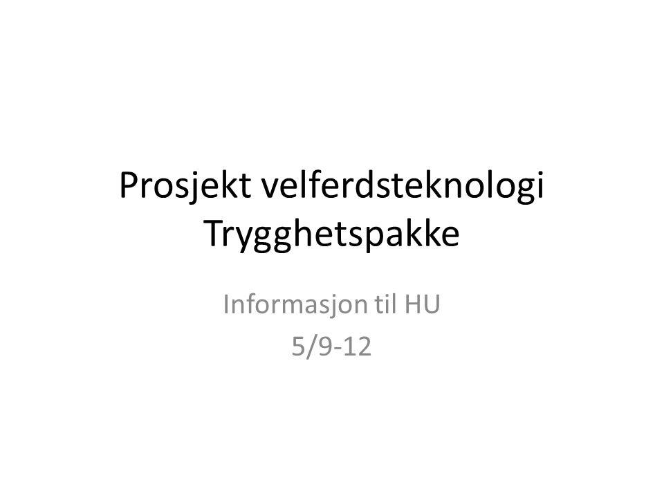 Veien videre Sak til HU om innføring av trygghetspakke i oktober. Mulig implementering våren 2013.