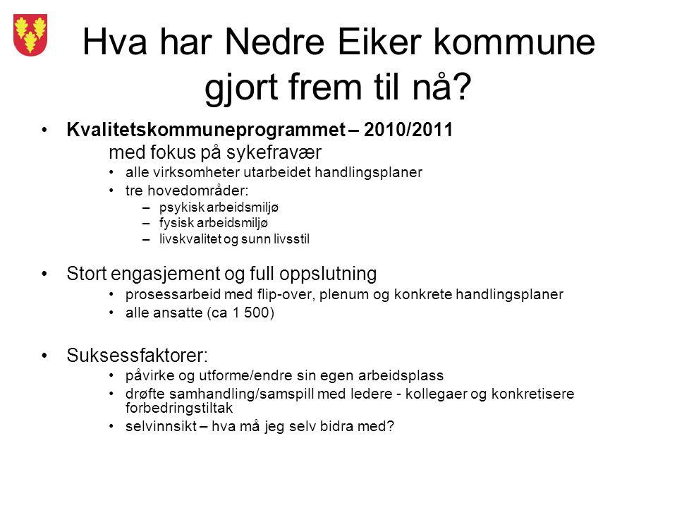 Hva har Nedre Eiker kommune gjort frem til nå? Kvalitetskommuneprogrammet – 2010/2011 med fokus på sykefravær alle virksomheter utarbeidet handlingspl