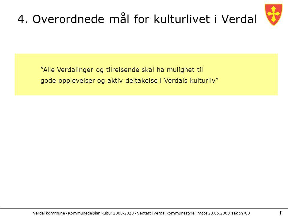 Verdal kommune - Kommunedelplan kultur 2008-2020 - Vedtatt i Verdal kommunestyre i møte 28.05.2008, sak 59/08 11 4. Overordnede mål for kulturlivet i