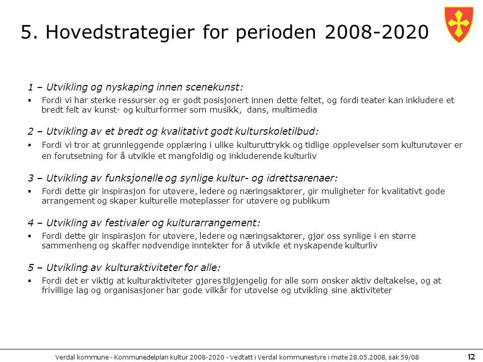 Verdal kommune - Kommunedelplan kultur 2008-2020 - Vedtatt i Verdal kommunestyre i møte 28.05.2008, sak 59/08 12 5. Hovedstrategier for perioden 2008-