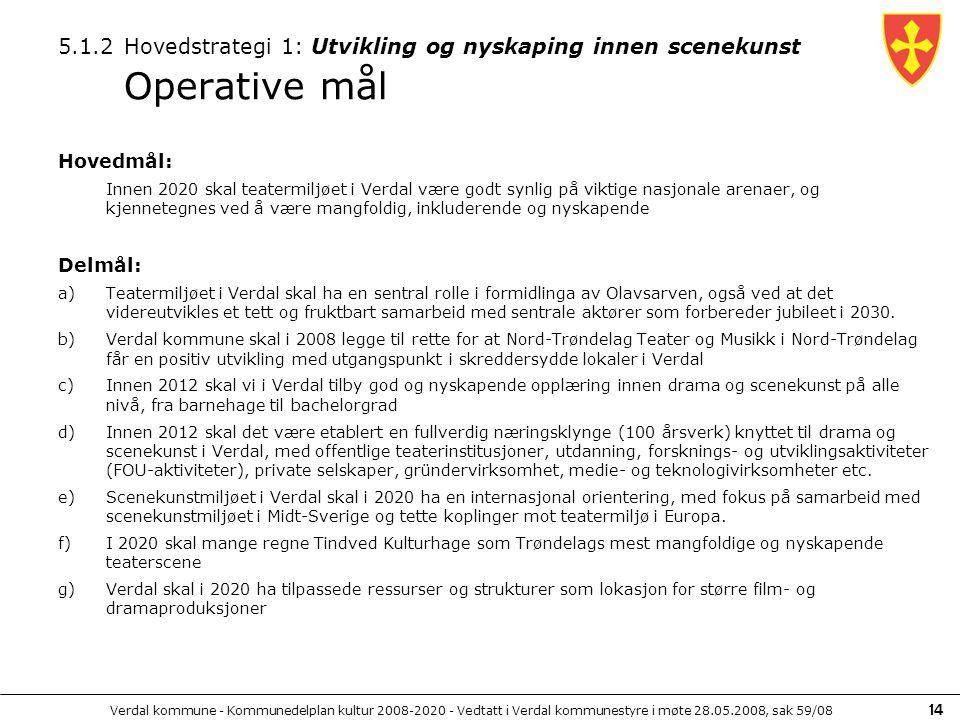 Verdal kommune - Kommunedelplan kultur 2008-2020 - Vedtatt i Verdal kommunestyre i møte 28.05.2008, sak 59/08 14 5.1.2 Hovedstrategi 1: Utvikling og n