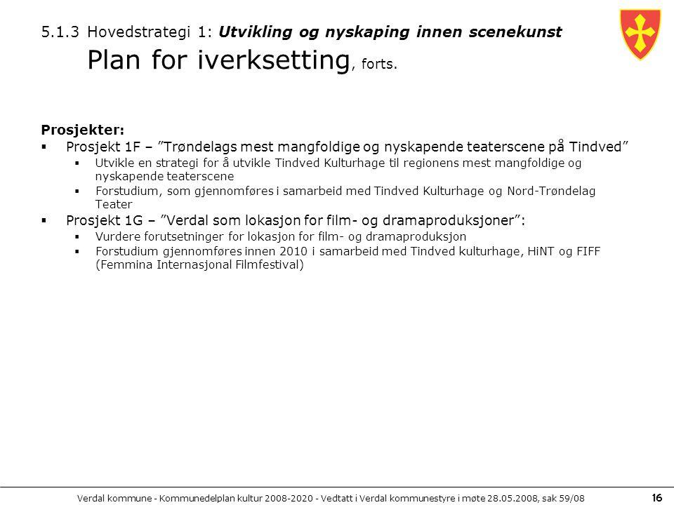 Verdal kommune - Kommunedelplan kultur 2008-2020 - Vedtatt i Verdal kommunestyre i møte 28.05.2008, sak 59/08 16 5.1.3 Hovedstrategi 1: Utvikling og n