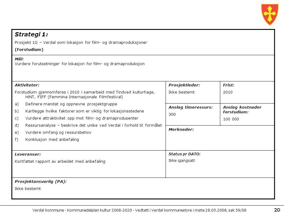 Verdal kommune - Kommunedelplan kultur 2008-2020 - Vedtatt i Verdal kommunestyre i møte 28.05.2008, sak 59/08 20 Strategi 1: Prosjekt 1G – Verdal som