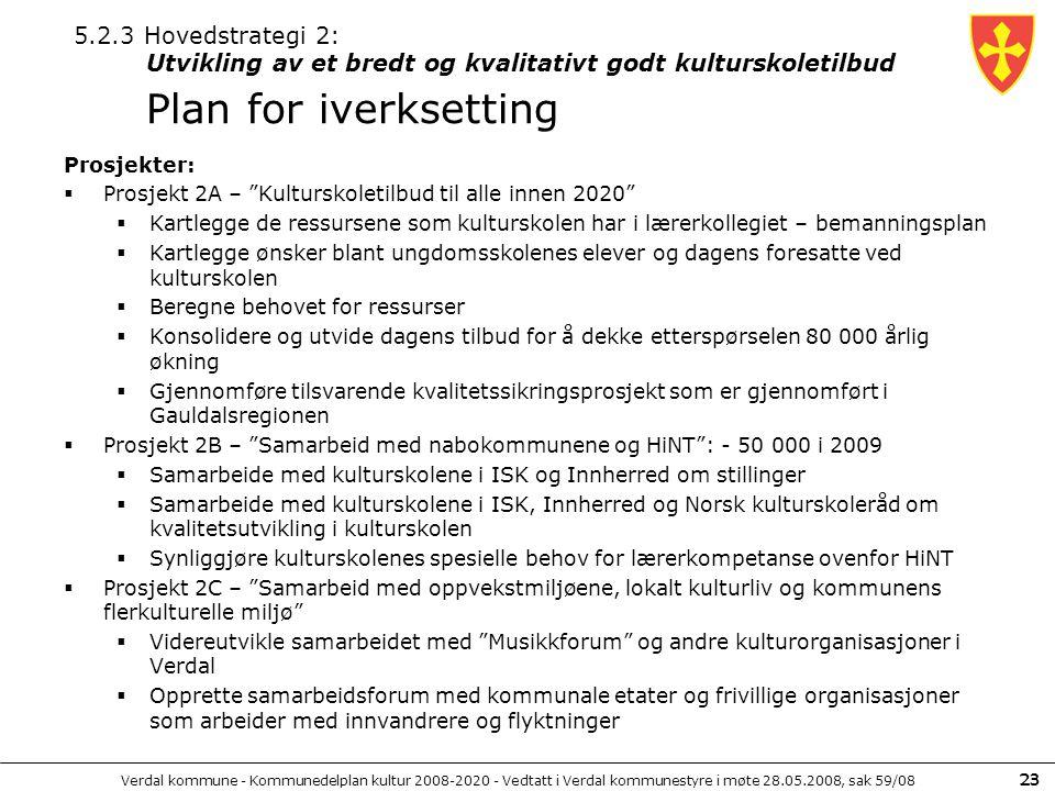 """Verdal kommune - Kommunedelplan kultur 2008-2020 - Vedtatt i Verdal kommunestyre i møte 28.05.2008, sak 59/08 23 Prosjekter:  Prosjekt 2A – """"Kultursk"""