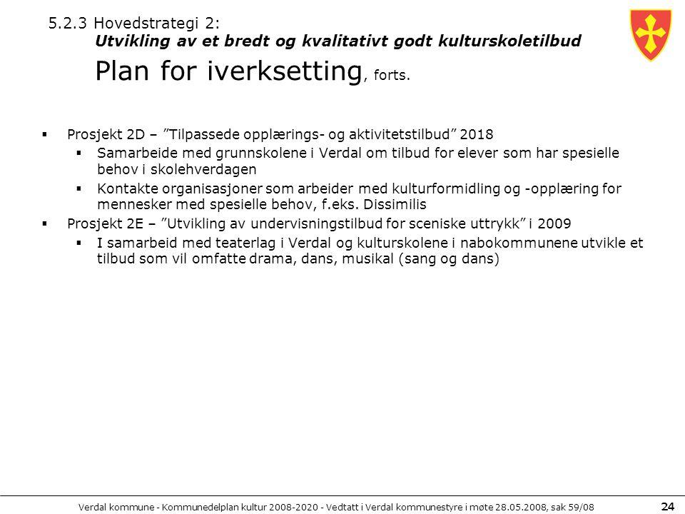 """Verdal kommune - Kommunedelplan kultur 2008-2020 - Vedtatt i Verdal kommunestyre i møte 28.05.2008, sak 59/08 24  Prosjekt 2D – """"Tilpassede opplæring"""