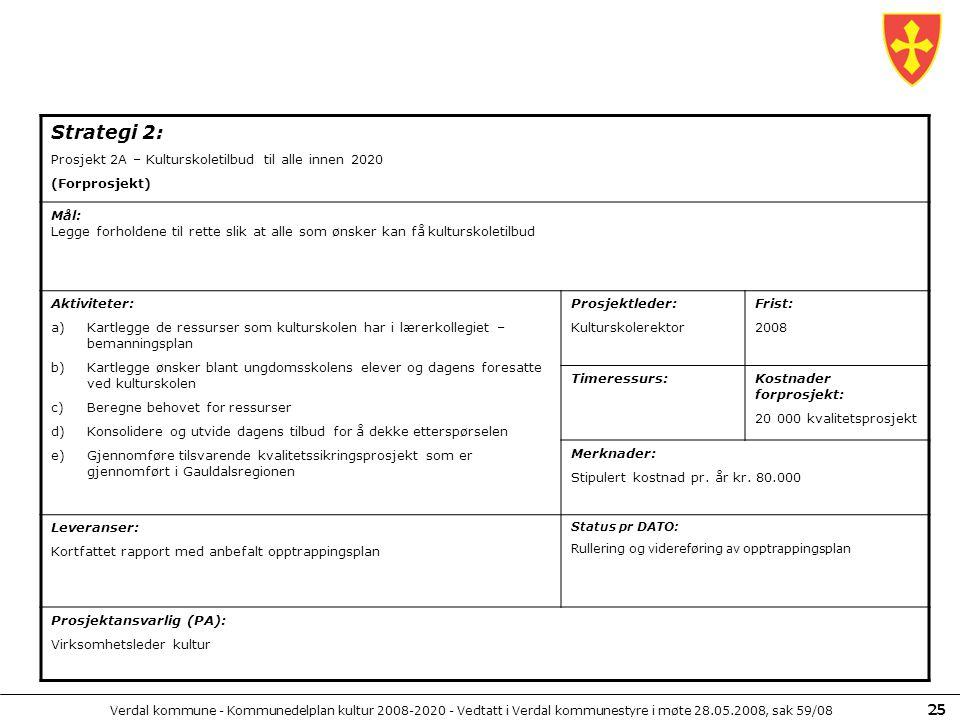 Verdal kommune - Kommunedelplan kultur 2008-2020 - Vedtatt i Verdal kommunestyre i møte 28.05.2008, sak 59/08 25 Strategi 2: Prosjekt 2A – Kulturskole