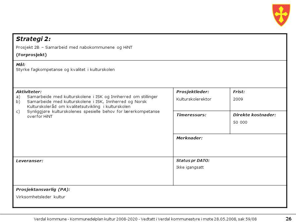 Verdal kommune - Kommunedelplan kultur 2008-2020 - Vedtatt i Verdal kommunestyre i møte 28.05.2008, sak 59/08 26 Strategi 2: Prosjekt 2B – Samarbeid m