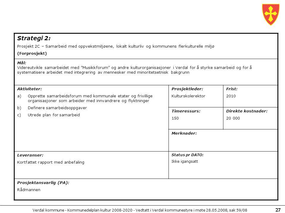 Verdal kommune - Kommunedelplan kultur 2008-2020 - Vedtatt i Verdal kommunestyre i møte 28.05.2008, sak 59/08 27 Strategi 2: Prosjekt 2C – Samarbeid m