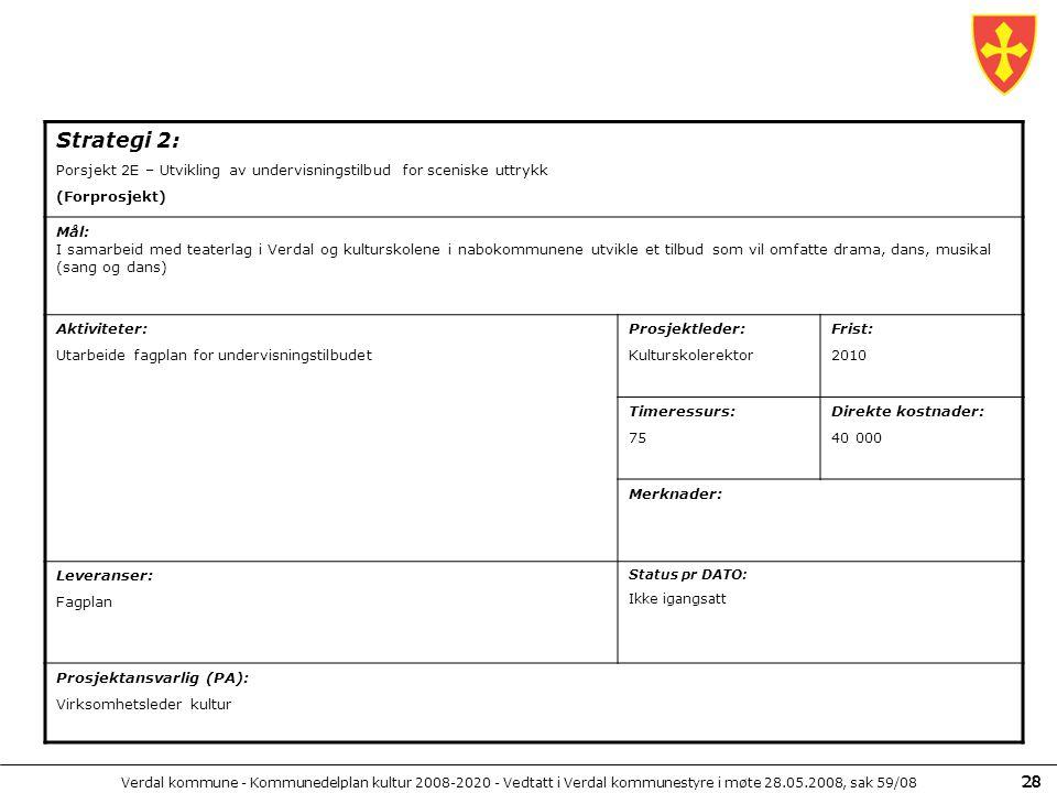 Verdal kommune - Kommunedelplan kultur 2008-2020 - Vedtatt i Verdal kommunestyre i møte 28.05.2008, sak 59/08 28 Strategi 2: Porsjekt 2E – Utvikling a