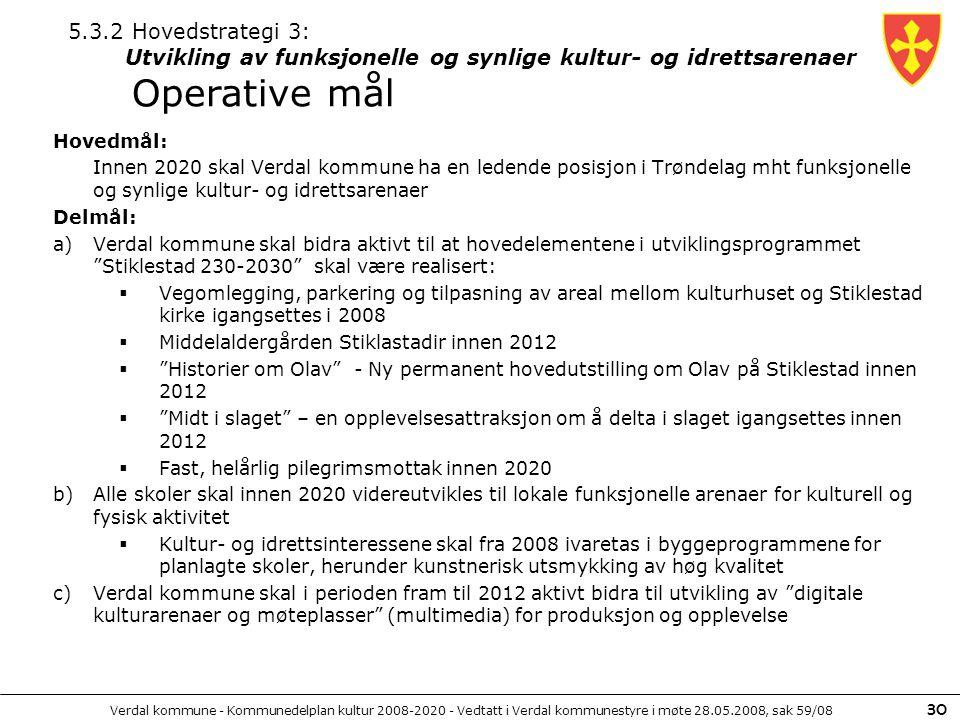 Verdal kommune - Kommunedelplan kultur 2008-2020 - Vedtatt i Verdal kommunestyre i møte 28.05.2008, sak 59/08 30 Hovedmål: Innen 2020 skal Verdal komm