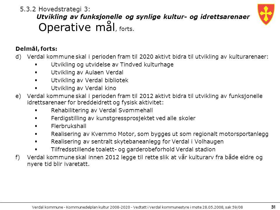 Verdal kommune - Kommunedelplan kultur 2008-2020 - Vedtatt i Verdal kommunestyre i møte 28.05.2008, sak 59/08 31 Delmål, forts: d)Verdal kommune skal