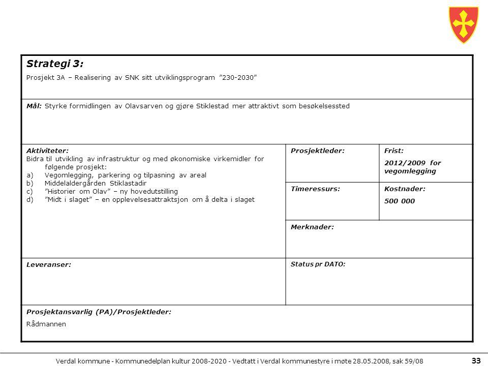 Verdal kommune - Kommunedelplan kultur 2008-2020 - Vedtatt i Verdal kommunestyre i møte 28.05.2008, sak 59/08 33 Strategi 3: Prosjekt 3A – Realisering