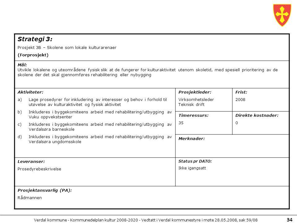 Verdal kommune - Kommunedelplan kultur 2008-2020 - Vedtatt i Verdal kommunestyre i møte 28.05.2008, sak 59/08 34 Strategi 3: Prosjekt 3B – Skolene som