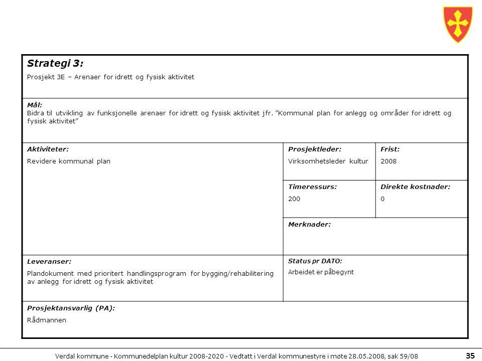 Verdal kommune - Kommunedelplan kultur 2008-2020 - Vedtatt i Verdal kommunestyre i møte 28.05.2008, sak 59/08 35 Strategi 3: Prosjekt 3E – Arenaer for