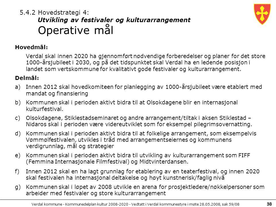 Verdal kommune - Kommunedelplan kultur 2008-2020 - Vedtatt i Verdal kommunestyre i møte 28.05.2008, sak 59/08 38 Hovedmål: Verdal skal innen 2020 ha g