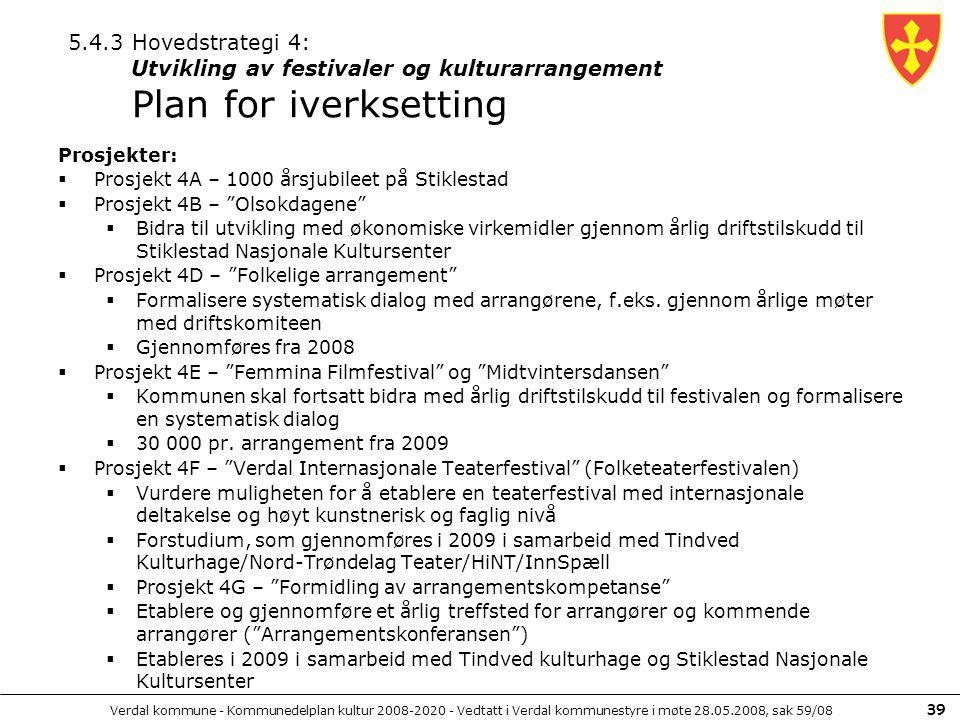 Verdal kommune - Kommunedelplan kultur 2008-2020 - Vedtatt i Verdal kommunestyre i møte 28.05.2008, sak 59/08 39 Prosjekter:  Prosjekt 4A – 1000 årsj
