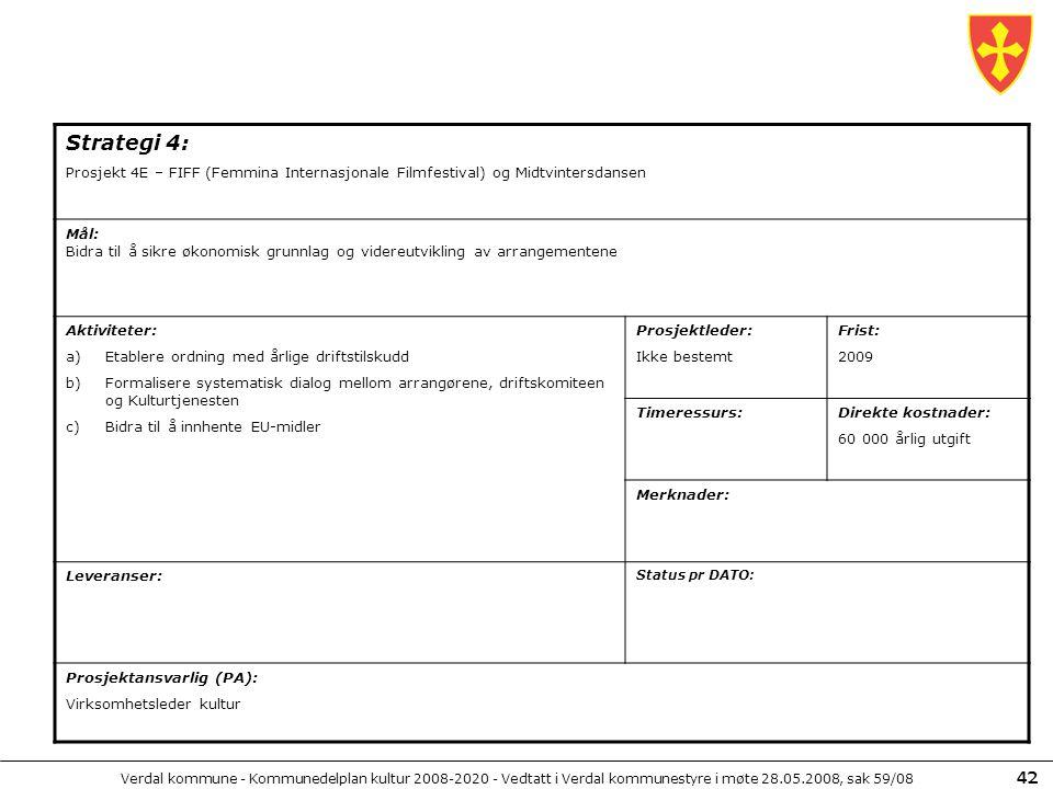 Verdal kommune - Kommunedelplan kultur 2008-2020 - Vedtatt i Verdal kommunestyre i møte 28.05.2008, sak 59/08 42 Strategi 4: Prosjekt 4E – FIFF (Femmi