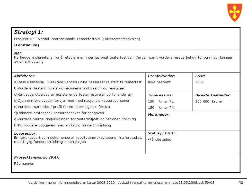 Verdal kommune - Kommunedelplan kultur 2008-2020 - Vedtatt i Verdal kommunestyre i møte 28.05.2008, sak 59/08 43 Strategi 1: Prosjekt 4F – Verdal Inte