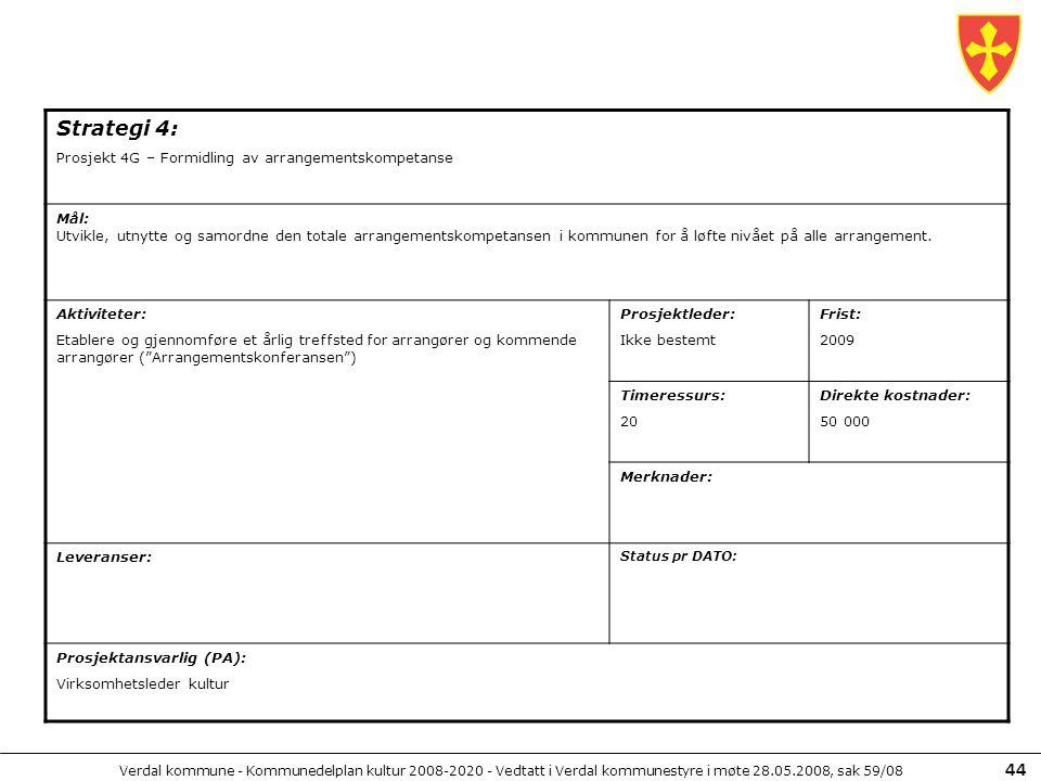 Verdal kommune - Kommunedelplan kultur 2008-2020 - Vedtatt i Verdal kommunestyre i møte 28.05.2008, sak 59/08 44 Strategi 4: Prosjekt 4G – Formidling