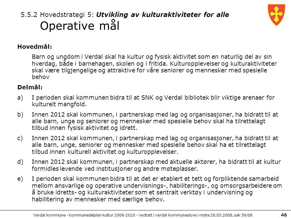 Verdal kommune - Kommunedelplan kultur 2008-2020 - Vedtatt i Verdal kommunestyre i møte 28.05.2008, sak 59/08 46 Hovedmål: Barn og ungdom i Verdal ska