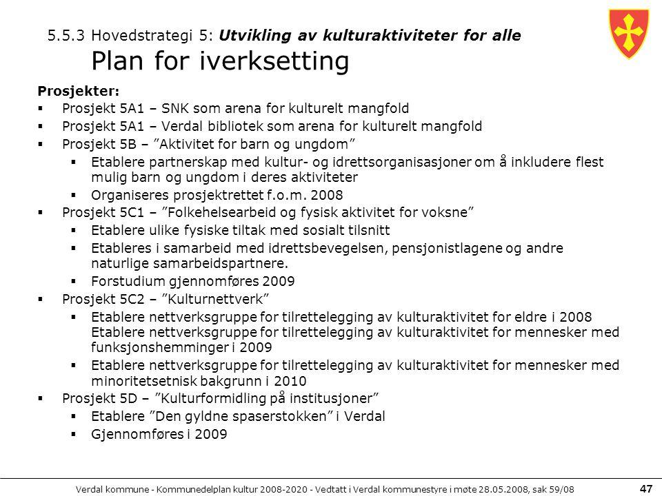 Verdal kommune - Kommunedelplan kultur 2008-2020 - Vedtatt i Verdal kommunestyre i møte 28.05.2008, sak 59/08 47 Prosjekter:  Prosjekt 5A1 – SNK som