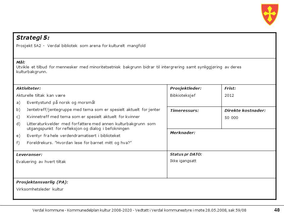 Verdal kommune - Kommunedelplan kultur 2008-2020 - Vedtatt i Verdal kommunestyre i møte 28.05.2008, sak 59/08 48 Strategi 5: Prosjekt 5A2 - Verdal bib