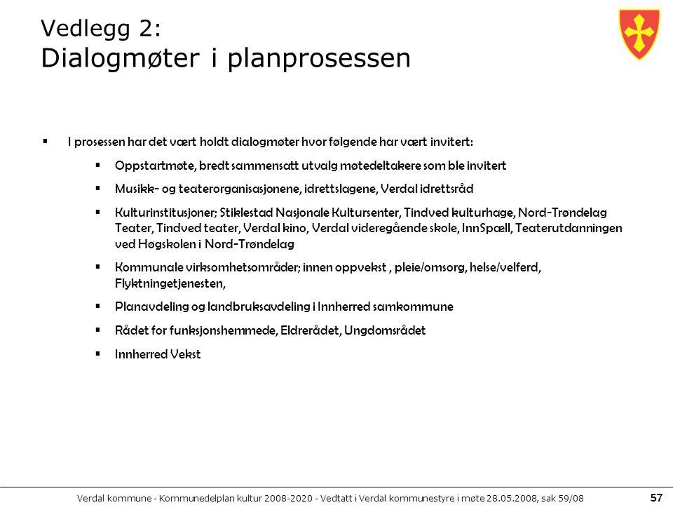 Verdal kommune - Kommunedelplan kultur 2008-2020 - Vedtatt i Verdal kommunestyre i møte 28.05.2008, sak 59/08 57 Vedlegg 2: Dialogmøter i planprosesse