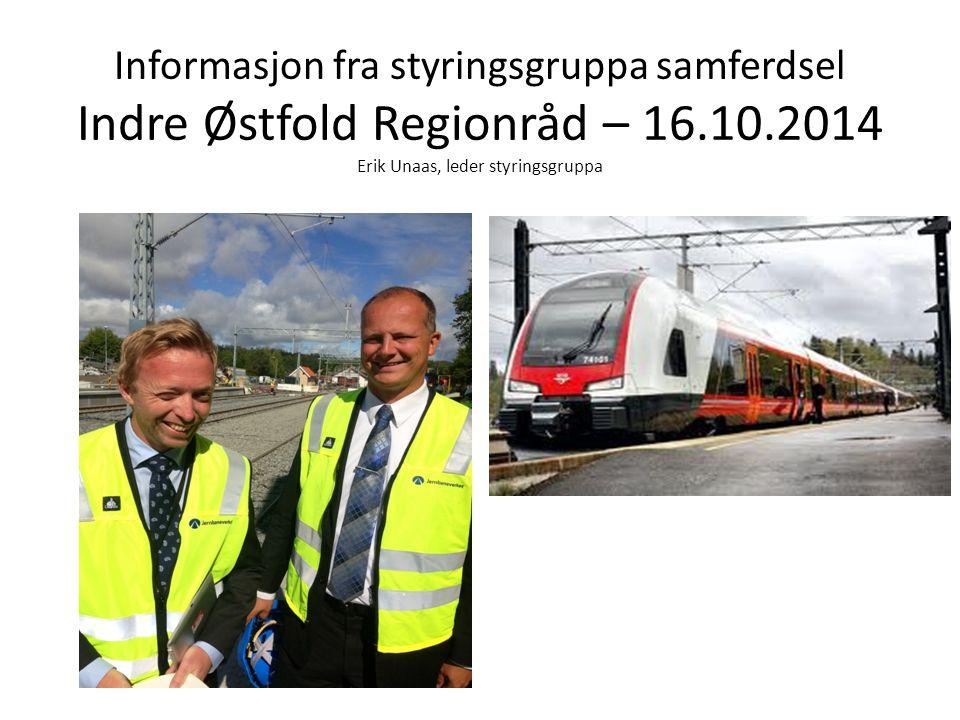 Informasjon fra styringsgruppa samferdsel Indre Østfold Regionråd – 16.10.2014 Erik Unaas, leder styringsgruppa