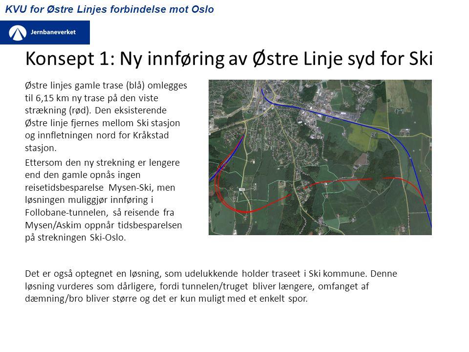 KVU for Østre Linjes forbindelse mot Oslo Konsept 1: Ny innføring av Østre Linje syd for Ski Østre linjes gamle trase (blå) omlegges til 6,15 km ny tr