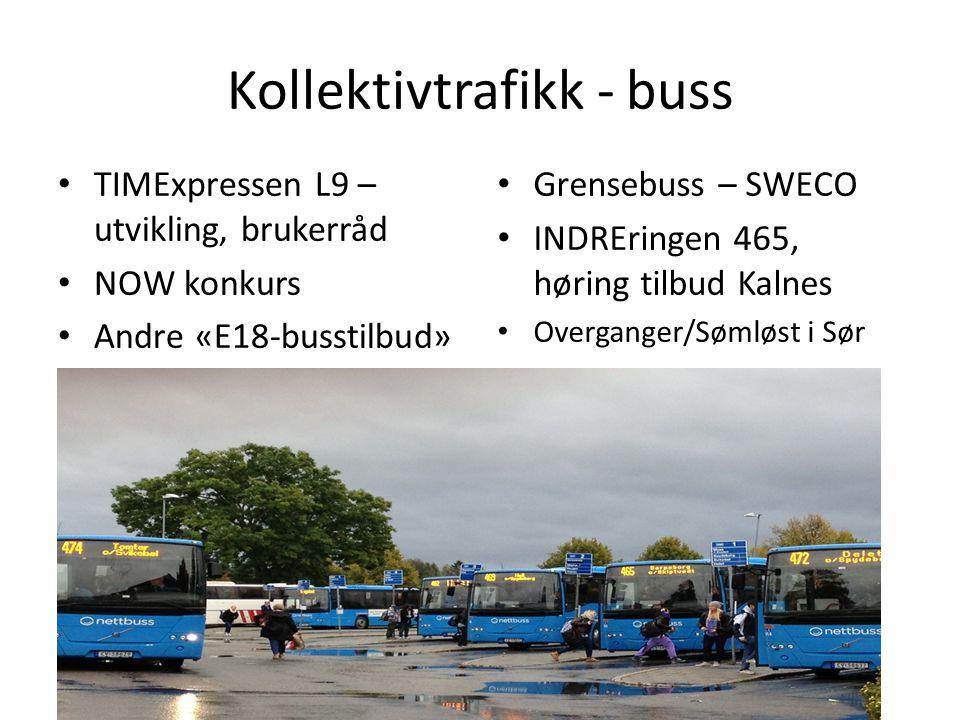 Kollektivtrafikk - buss TIMExpressen L9 – utvikling, brukerråd NOW konkurs Andre «E18-busstilbud» Sømløst i Sør Grensebuss – SWECO INDREringen 465, hø