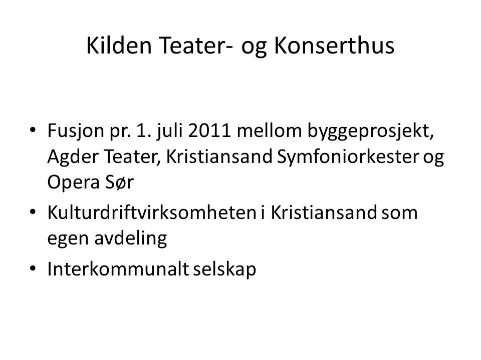 Kilden Teater- og Konserthus Fusjon pr. 1. juli 2011 mellom byggeprosjekt, Agder Teater, Kristiansand Symfoniorkester og Opera Sør Kulturdriftvirksomh