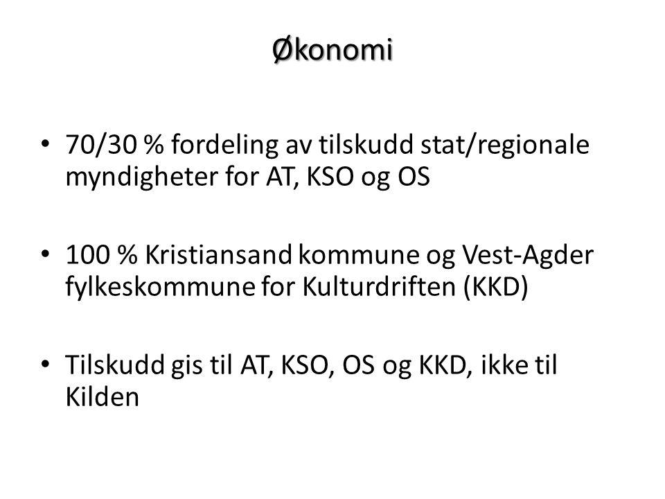 Økonomi 70/30 % fordeling av tilskudd stat/regionale myndigheter for AT, KSO og OS 100 % Kristiansand kommune og Vest-Agder fylkeskommune for Kulturdriften (KKD) Tilskudd gis til AT, KSO, OS og KKD, ikke til Kilden