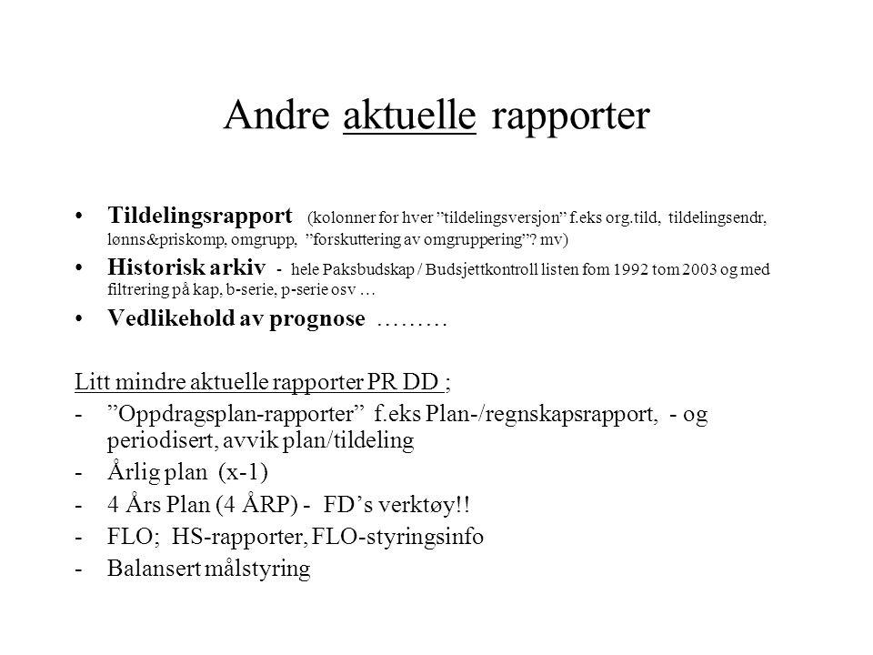 Andre aktuelle rapporter Tildelingsrapport (kolonner for hver tildelingsversjon f.eks org.tild, tildelingsendr, lønns&priskomp, omgrupp, forskuttering av omgruppering .