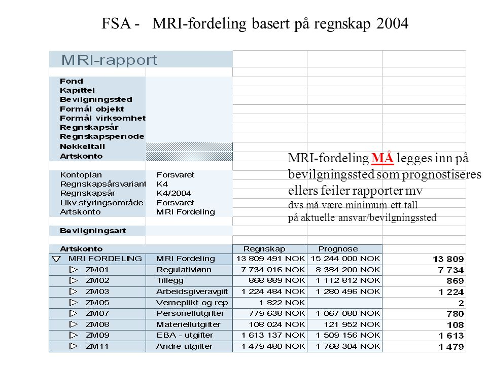 FSA - MRI-fordeling basert på regnskap 2004 MRI-fordeling MÅ legges inn på bevilgningssted som prognostiseres ellers feiler rapporter mv dvs må være minimum ett tall på aktuelle ansvar/bevilgningssted