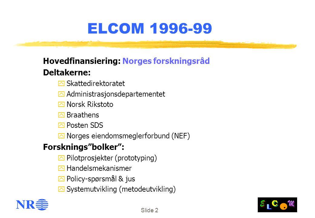 Slide 2 ELCOM 1996-99 Hovedfinansiering: Norges forskningsråd Deltakerne: ySkattedirektoratet yAdministrasjonsdepartementet yNorsk Rikstoto yBraathens yPosten SDS yNorges eiendomsmeglerforbund (NEF) Forsknings bolker : yPilotprosjekter (prototyping) yHandelsmekanismer yPolicy-spørsmål & jus ySystemutvikling (metodeutvikling)