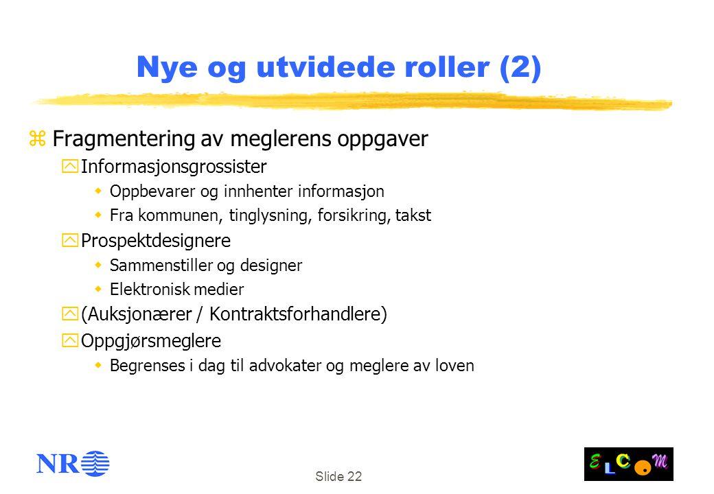 Slide 22 Nye og utvidede roller (2) zFragmentering av meglerens oppgaver yInformasjonsgrossister  Oppbevarer og innhenter informasjon  Fra kommunen,