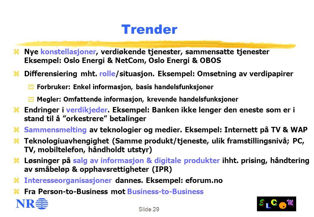 Slide 29 Trender zNye konstellasjoner, verdiøkende tjenester, sammensatte tjenester Eksempel: Oslo Energi & NetCom, Oslo Energi & OBOS zDifferensiering mht.