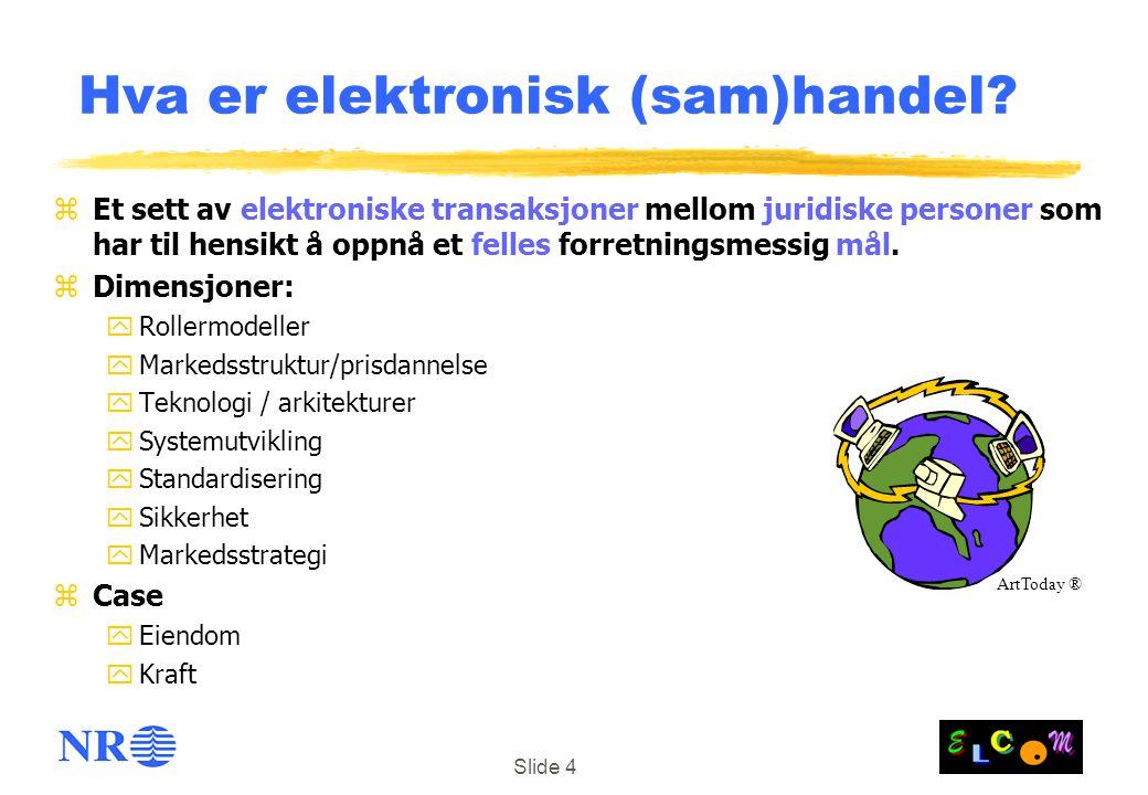Slide 4 Hva er elektronisk (sam)handel? zEt sett av elektroniske transaksjoner mellom juridiske personer som har til hensikt å oppnå et felles forretn