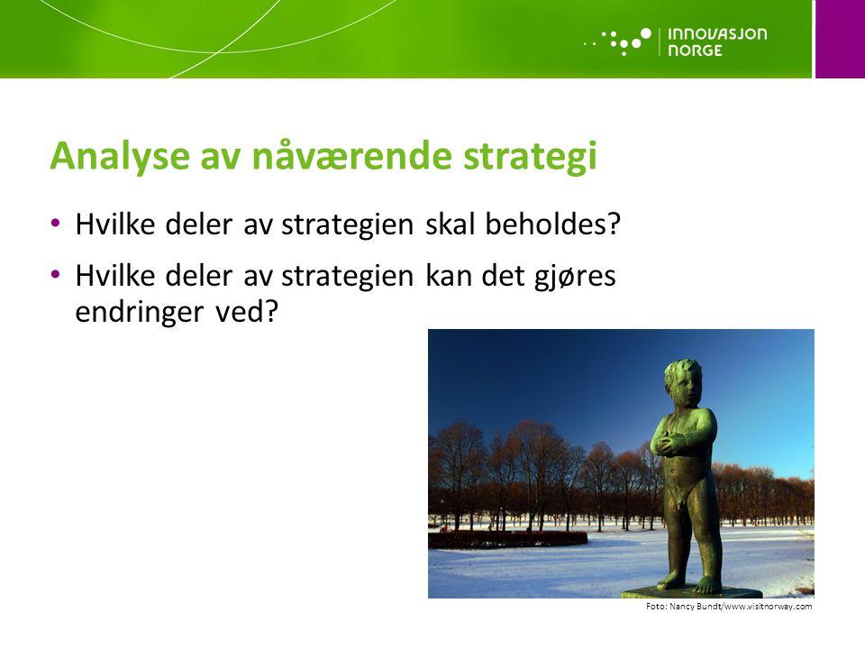 Analyse av nåværende strategi Hvilke deler av strategien skal beholdes? Hvilke deler av strategien kan det gjøres endringer ved? Foto: Nancy Bundt/www
