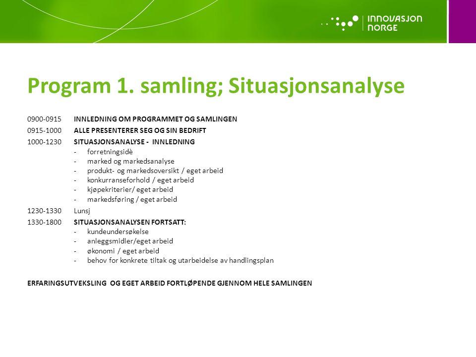 Program 1. samling; Situasjonsanalyse 0900-0915INNLEDNING OM PROGRAMMET OG SAMLINGEN 0915-1000ALLE PRESENTERER SEG OG SIN BEDRIFT 1000-1230SITUASJONSA