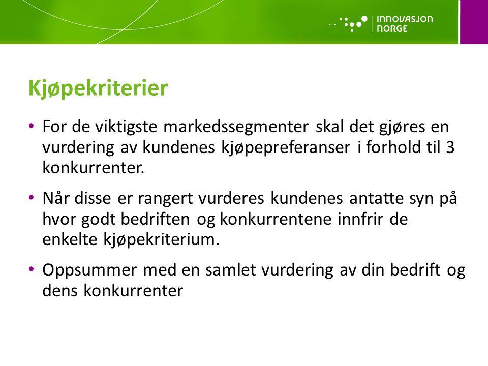 Kjøpekriterier For de viktigste markedssegmenter skal det gjøres en vurdering av kundenes kjøpepreferanser i forhold til 3 konkurrenter. Når disse er